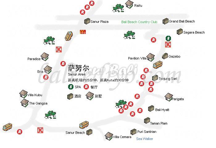 巴厘岛旅游地图