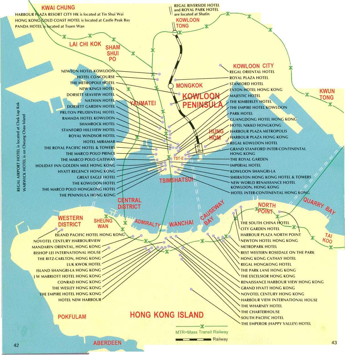 香港酒店分布图英文版hong